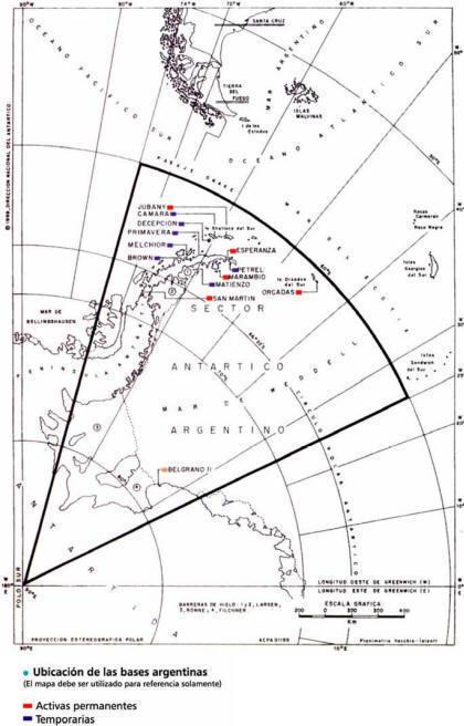 Mapa de las bases argentinas en la Antártida