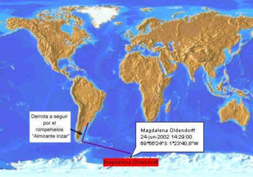 Derrota del Almirante Irízar. Gentileza Armada Argentina